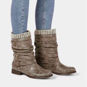 JustFab Gray Taupe Nafise Sweater Cuff Boot